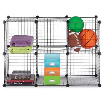 Whitmor 6-Cube Wire Storage Shelves Black