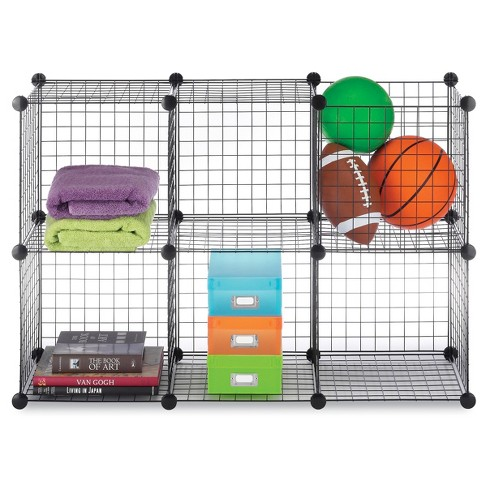Whitmor 6-Cube Wire Storage Shelves Black - image 1 of 2