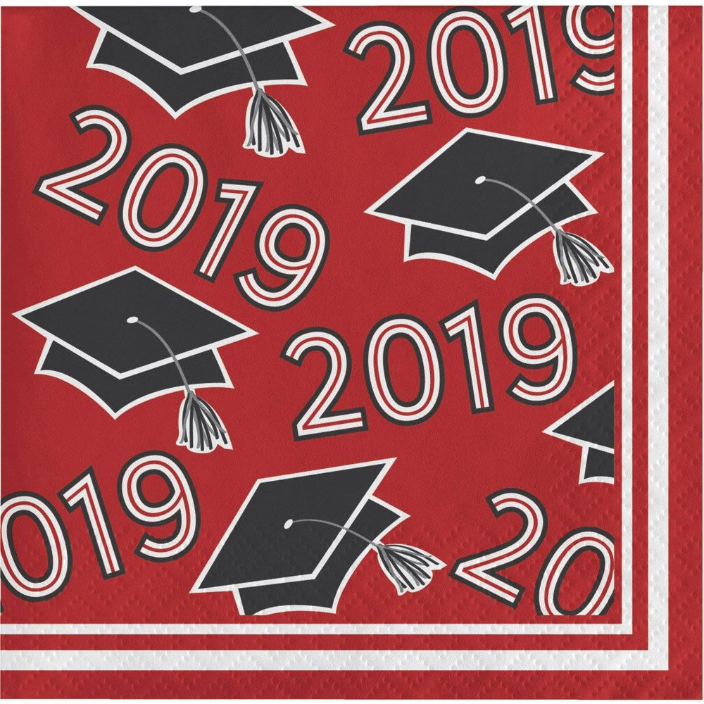 "Image of ""108ct """"Class Of 2019"""" Disposable Beverage Napkins Red"""