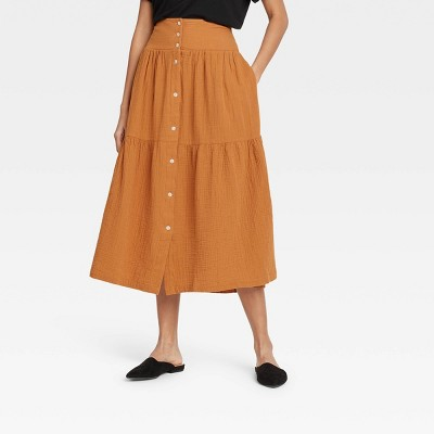 Women's Tiered Midi A-Line Skirt - Universal Thread™