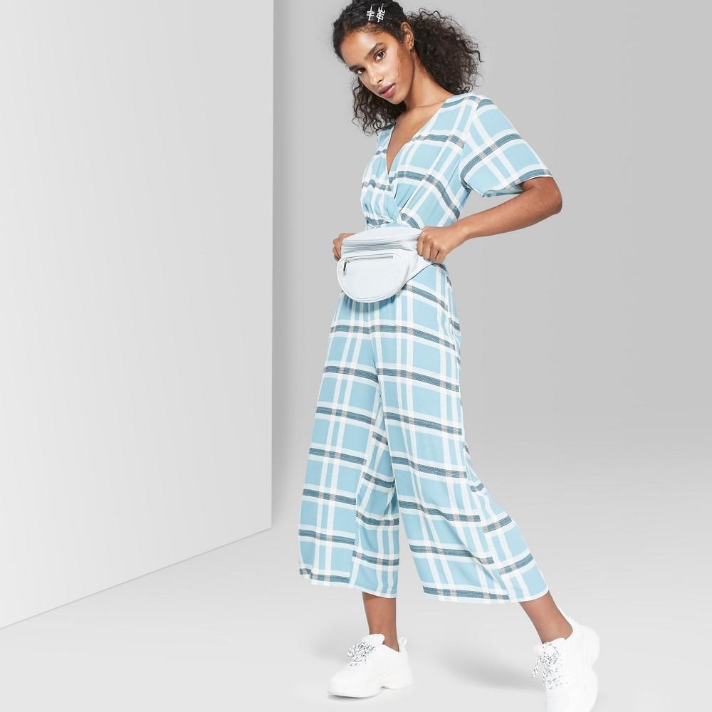 Women's Plaid Short Sleeve Twist Front Jumpsuit - Wild Fable Blue Stencil Xxl