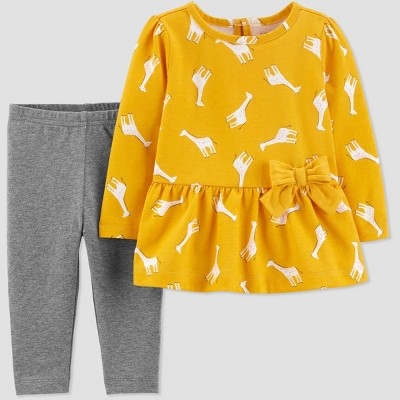 Baby Girls' 2pc Llama Top & Bottom Sets - Just One You® made by carter's Yellow/Gray 6M
