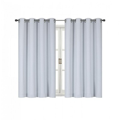 Kate Aurora 100% Hotel Thermal Blackout White Grommet Top Curtain Panels