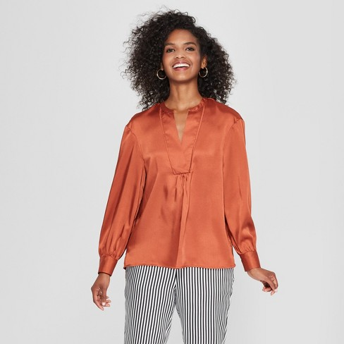 Women's Long Sleeve Silky Boho Popover Top - Who What Wear™ - image 1 of 3