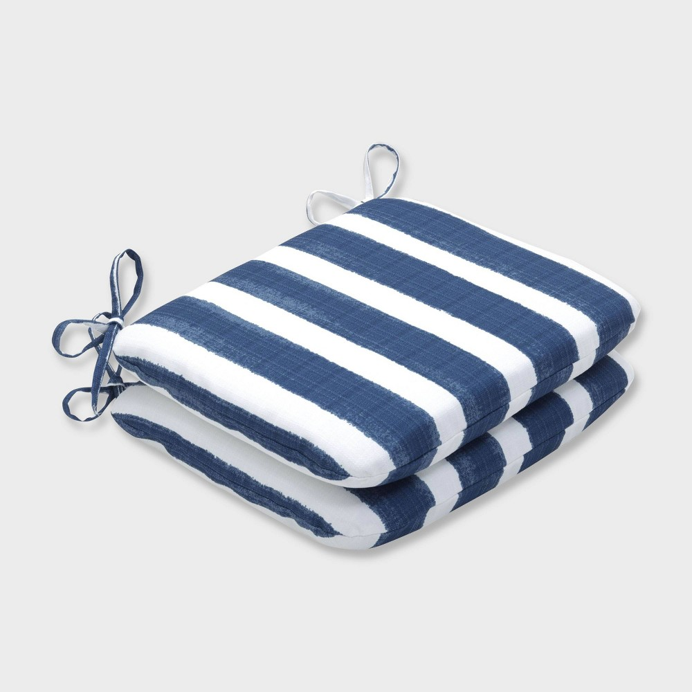 2pk Nico Zaffre Rounded Corners Outdoor Seat Cushions Blue Pillow Perfect