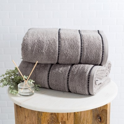 2pc Luxury Cotton Bath Towels Sets Medium Silver - Yorkshire Home
