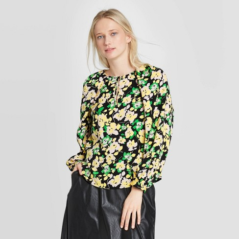 Women's Balloon Long Sleeve Round Neck Keyhole Blouse - Who What Wear™  - image 1 of 3