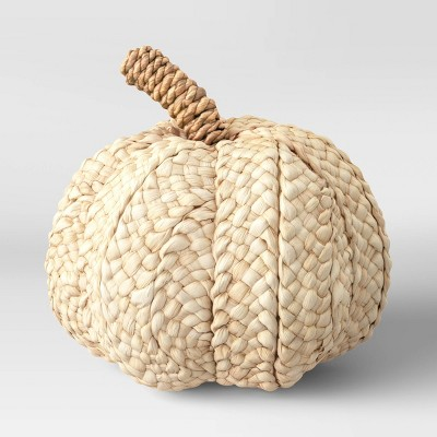 "7"" x 7.8"" Woven Corn Husk Pumpkin Figurine Cream - Threshold™"