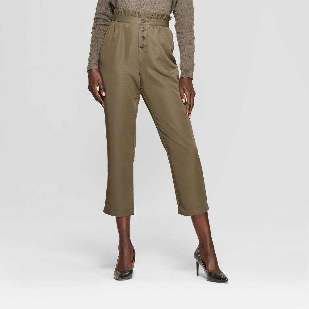 Women's Relaxed Button Front Ankle Trouser - Who What Wear Olive (Green) Xxl