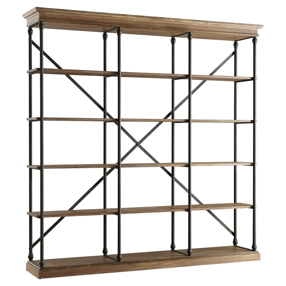 Belvidere 5 Shelf Wide 84 Bookcase Black - Inspire Q, Brown