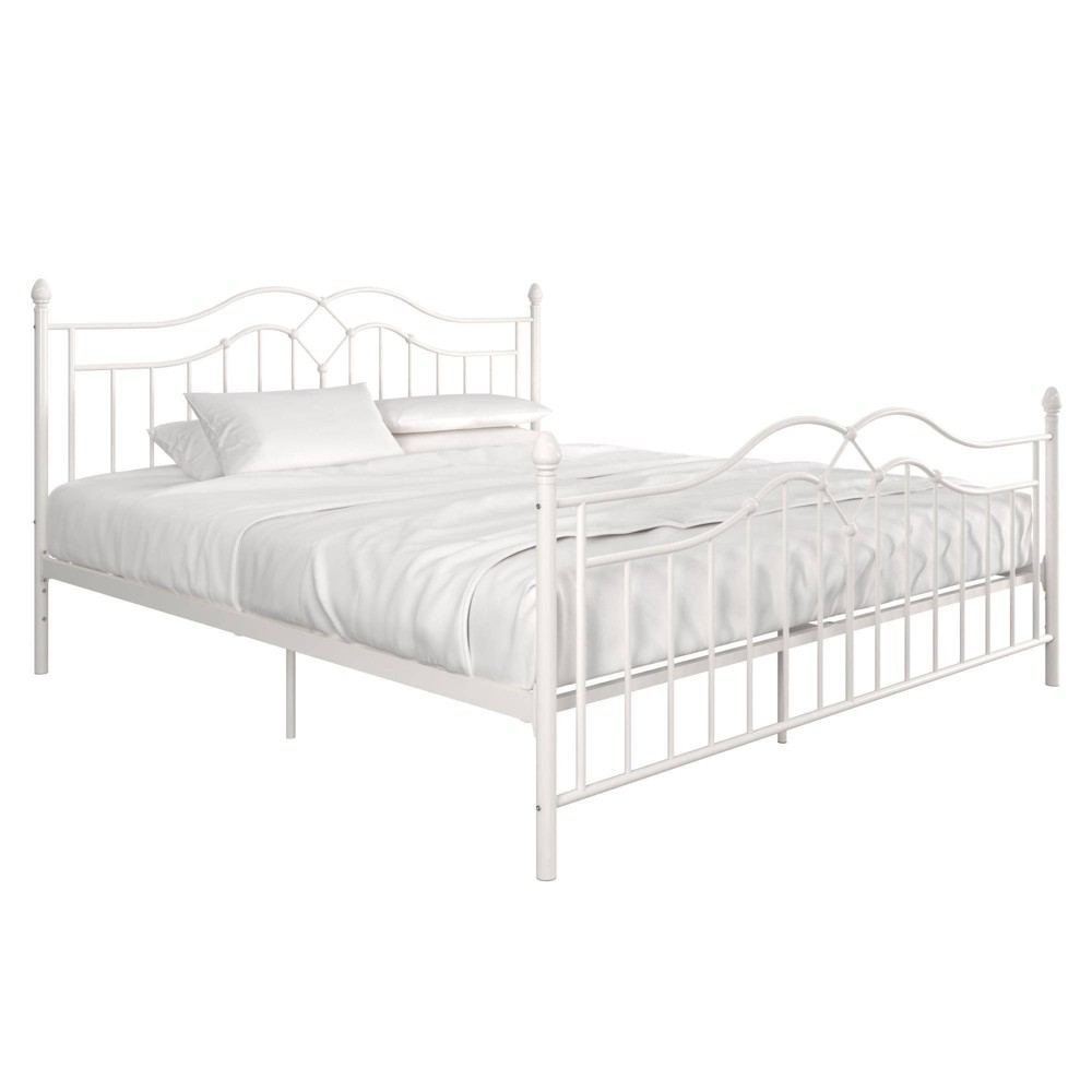 King Traci Metal Bed White - Room & Joy