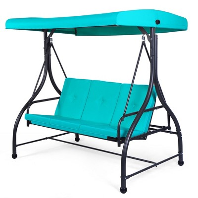 Costway Converting Outdoor Swing Canopy Hammock 3 Seats  Patio Deck Furniture Turquoise