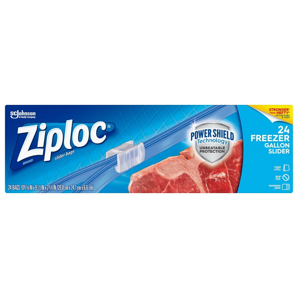 Ziploc Slider Freezer Gallon Bag 24ct