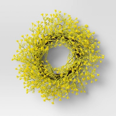 "12"" Artificial Mimosa Flower Wreath Yellow - Threshold™"