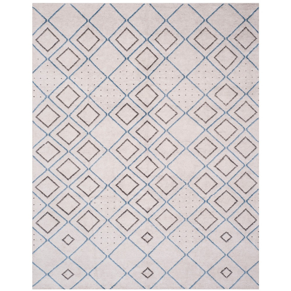 8'X10' Knotted Geometric Area Rug Silver - Safavieh, Silver/Blue