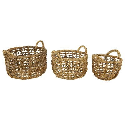 3pk Banana Leaf Storage Baskets with Open Weave Diamond Design Natural