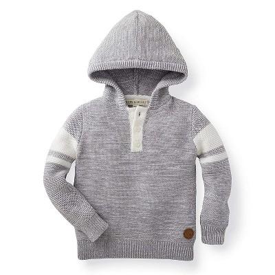 Hope & Henry Boys' Grey Hooded Pull Over Sweater, Kids