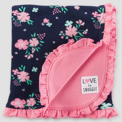Baby Girls' Interlock Floral Blanket - Just One You® made by carter's Navy/Pink One Size