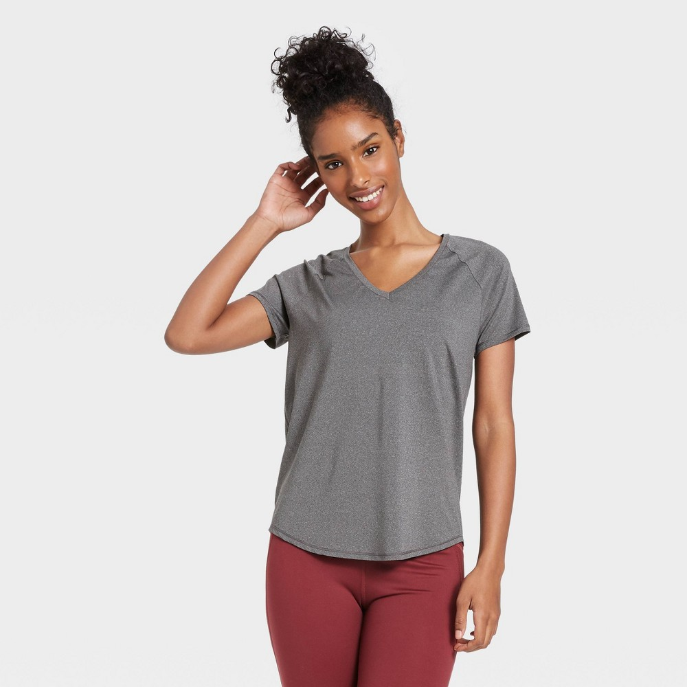 Women 39 S Essential V Neck Short Sleeve T Shirt All In Motion 8482 Charcoal Heather Xl