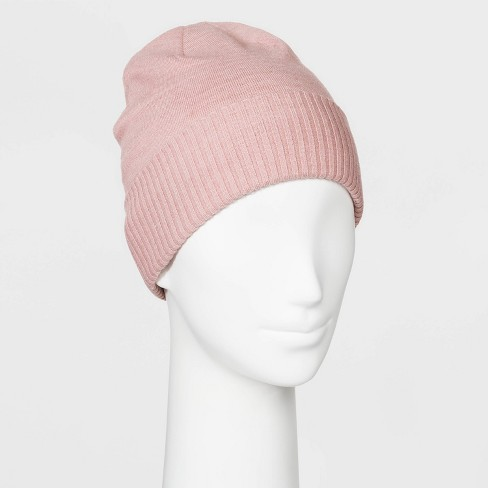 Women's Fine Gauge Knit Beanie - A New Day™ Pink One Size - image 1 of 1
