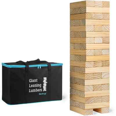 GetMovin' Sports Giant Leaning Lumbers Ultimate Inside/Outside Family Fun 5 Foot Tall Stacking Game for Ages 8 and Up