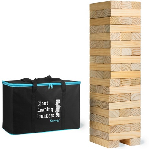 GetMovin' Sports Giant Leaning Lumbers Ultimate Inside/Outside Family Fun 5 Foot Tall Stacking Game for Ages 8 and Up - image 1 of 4