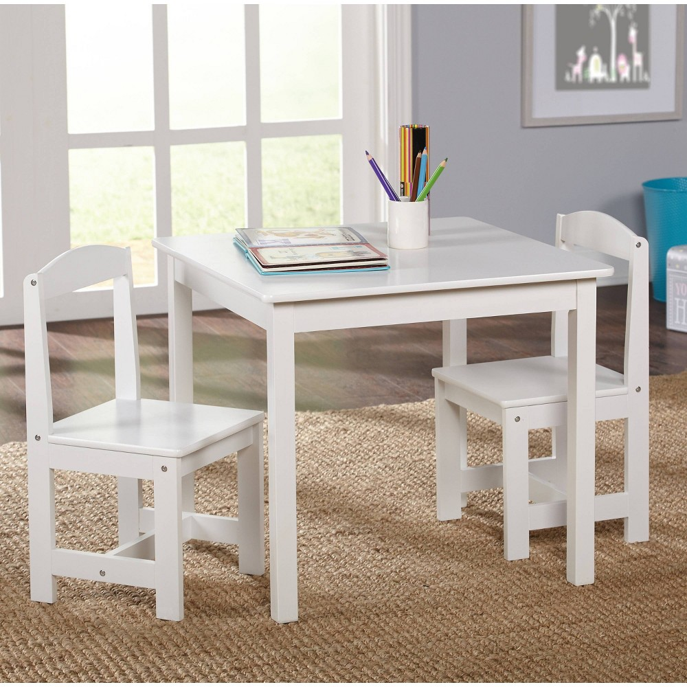 Image of 3pc Madeline Kids Table and Chairs Set Antique White - Buylateral