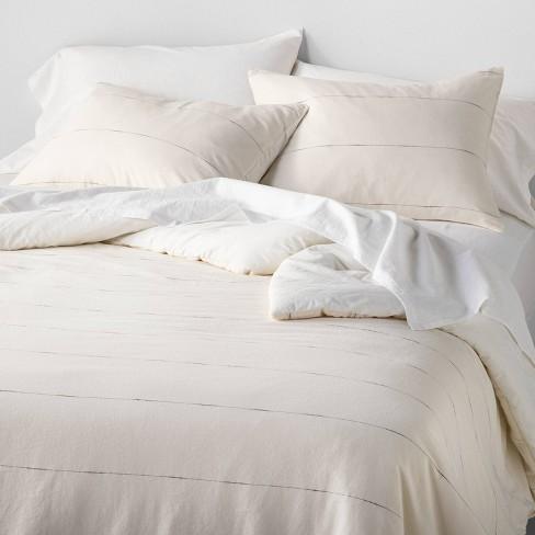 Thin Stripe Comforter & Sham Set Sour Cream/Railroad Gray - Hearth & Hand™ with Magnolia - image 1 of 2