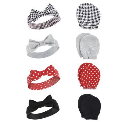 Hudson Baby Infant Girl Cotton Headband and Scratch Mitten Set, Houndstooth, 0-6 Months