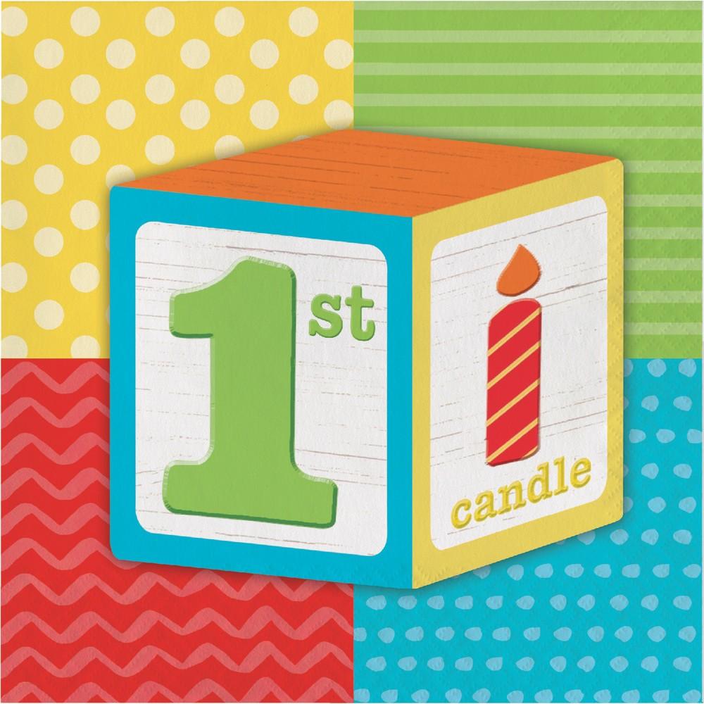 Image of 16ct Creative Converting Abc Blocks 1st Birthday Napkins