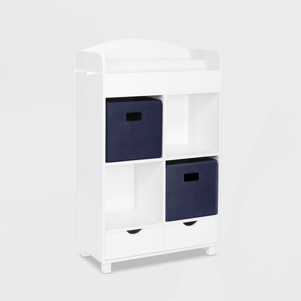 Image of 2pc Bin Book Nook Kids Cubby Storage Cabinet with Book Rack Navy - RiverRidge