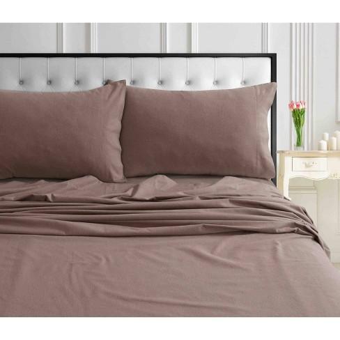 Queen Solid Extra Deep Pocket Ultra Soft Flannel Sheet Set Otter Tribeca Living Target