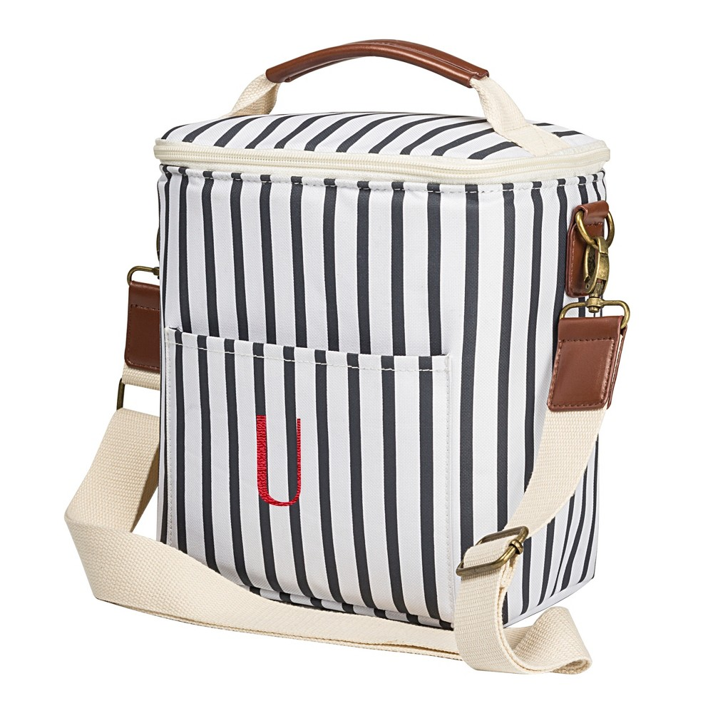 Cathy's Concepts Striped Bottle Cooler - U, Blue White
