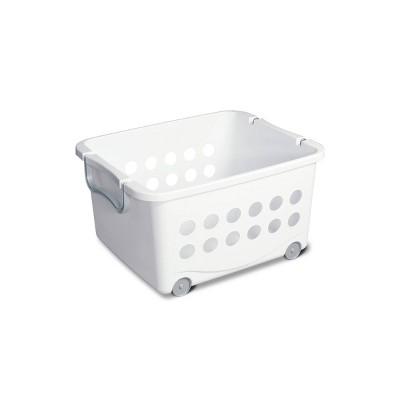 Sterilite Stacking Storage Basket with Wheels White