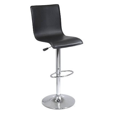 Spectrum High Back L Shaped Air Lift Adjustable Height Barstool Black/Metal - Winsome