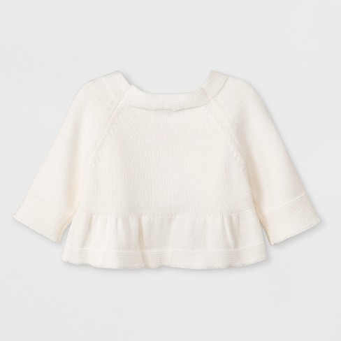 a7549f64d Baby Girls  Long Sleeve Cropped Cardigan Top - Cat   Jack™ Cream ...