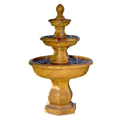 """40"""" Tropical 3-Tier Outdoor Garden Water Fountain - Sunnydaze Decor"""