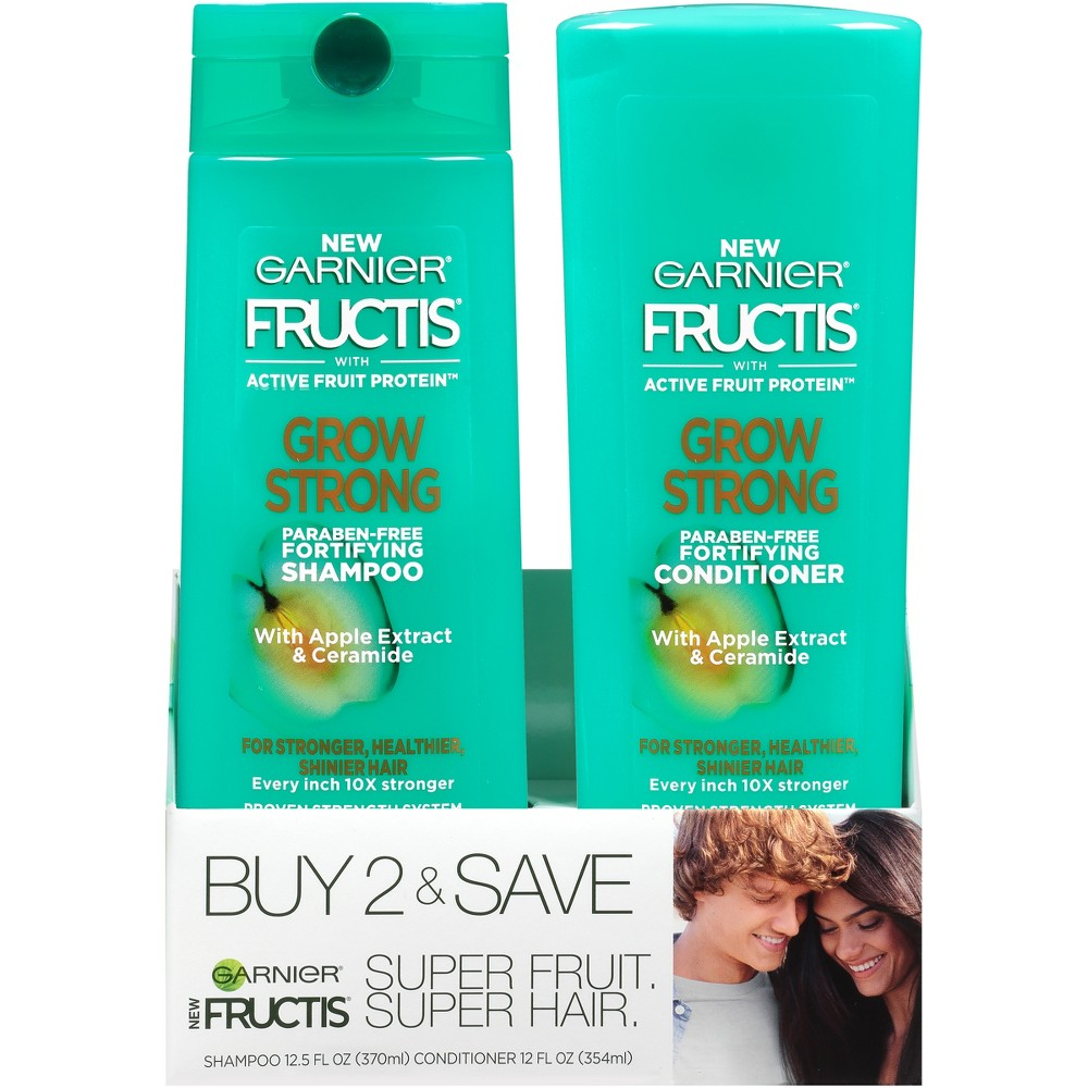 Image of Garnier Fructis Active Fruit Protein Grow Strong Fortifying Shampoo & Conditioner Set - 12.5 fl oz
