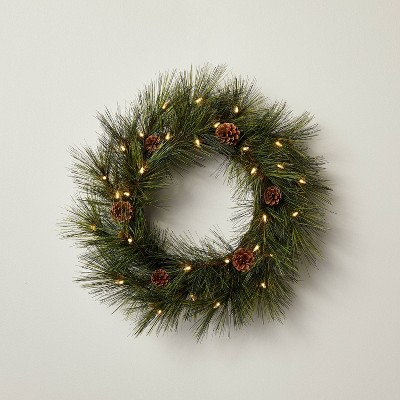 """24"""" Pre-Lit LED Faux Needle Pine Plant Wreath with Pinecones - Hearth & Hand™ with Magnolia"""