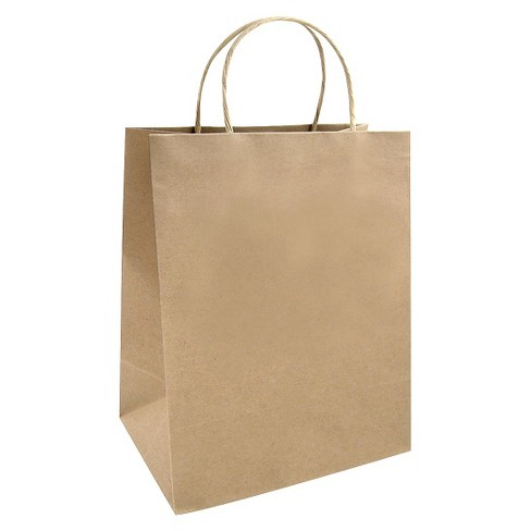 Small Striped Gift Bag White/Brown - Spritz™ - image 1 of 1