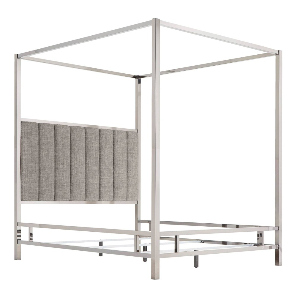 Queen Manhattan Canopy Bed with Vertical Channel Headboard Smoke (Grey) - Inspire Q