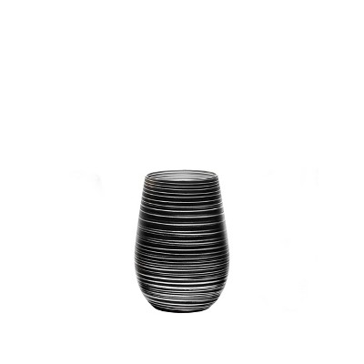 16.5oz 6pk Glass Olympia Twister Tumbler Drinkware Set Black/Silver - Stolzle Lausitz