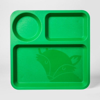 10  Plastic Kids Square Divided Plate Green - Pillowfort™
