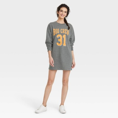 Women's Boo Crew Long Sleeve Graphic Sweatshirt Dress - Gray