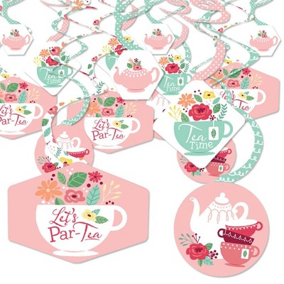 Big Dot of Happiness Floral Let's Par-Tea - Garden Tea Party Hanging Decor - Party Decoration Swirls - Set of 40