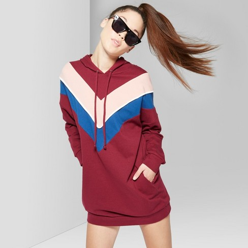 Women's Long Sleeve Color Blocked Hooded Sweatshirt Dress - Wild Fable™ Wine - image 1 of 3