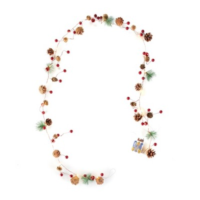Lakeside Lighted Christmas Strand with Floral Winter Appliques - Holiday Accent
