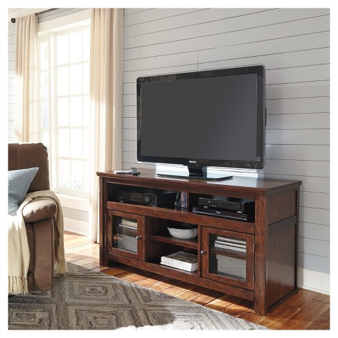 Harpan Reddish Brown Large Tv Stand Signature Design By Ashley Target