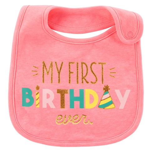 Baby Girls My First Birthday Bib