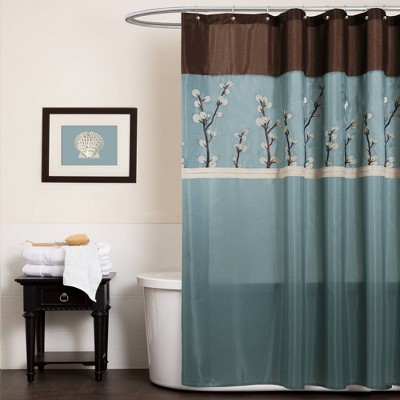 Cocoa Flower Shower Curtain Blue - Lush Décor